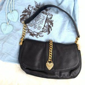 Juicy Couture Black Leather Bag Gold Chain Accent